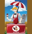 man selling ice cream vector image vector image