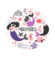 mermaida and ocean animals vector image vector image