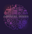 optical fiber round colorful outline vector image vector image