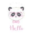 panda cute panda head isolated on white vector image vector image