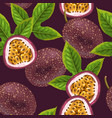 passionfruits and leaves seamless vector image vector image