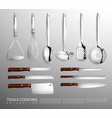 realistic kitchen equipment collection vector image vector image