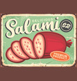 salami vintage poster with green background vector image vector image