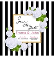 save date cards with paper flowers and gold vector image vector image