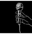 scetch of hand with microphone vector image