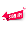 sign up arrow label vector image