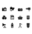Silhouette Photography equipment and tools icons vector image vector image
