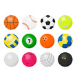 sport balls cartoon equipment for playing sport vector image vector image