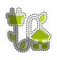 sticker green house with reduce power cable icon vector image vector image