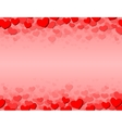 Valentines Day card with scattered hearts on top vector image vector image