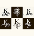 vintage set capital letter k for monograms and vector image vector image