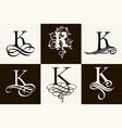 vintage set capital letter k for monograms vector image vector image