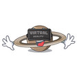 virtual reality planet saturn in the cartoon form vector image