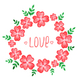 watercolor floral frame with red flowers vector image