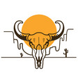 wild west with bull skull on american desert and vector image vector image