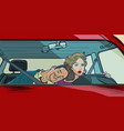 woman driver couple in car husband and wife vector image