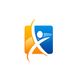 abstract people fitness sport logo vector image