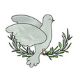 pigeon peace symbol side view in olive branch on vector image