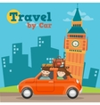 Travel by Car in England with Big Ben vector image