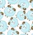 Seamless pattern with cartoon sheep vector image