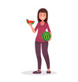 a female farmer holds delicious watermelon vector image vector image