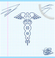 caduceus medical symbol line sketch icon isolated vector image