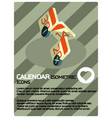 calendar color isometric poster vector image
