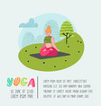 cartoon people practicing yoga poster banner vector image