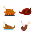 chicken icon set flat style vector image