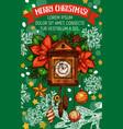 christmas holidays clock greeting card vector image vector image