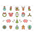 christmas icons set zodiac year pig 2019 vector image