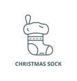 christmas sock line icon christmas sock vector image