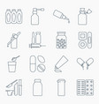 collection of outline medical bottles icons vector image