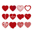 collection of red hearts icons set vector image vector image