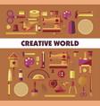 creative world handicraft tools and equipment vector image vector image