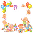 cute little babies with toys near blank text frame vector image