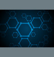 dark blue abstract hexagon molecules tech vector image vector image