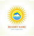 dolphin sea sun logo vector image
