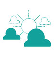 dotted shape clouds with sun natural weather in vector image vector image