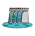 drawn hydroelectric station plant water dam vector image
