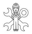 female builder worker with helmet and wrench keys vector image vector image