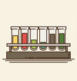 five multicolor test tubes with liquid in rack vector image vector image