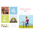flat freelance infographic concept vector image vector image