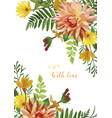 flower square card design yellow calendula garden vector image