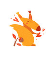 funny comic cute squirrel cartoon hand drawn vector image vector image