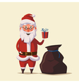 Funny Santa Claus holding gift in hand Cartoon vector image vector image