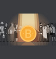 golden bitcoin over silhouette people crowd modern vector image vector image