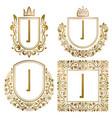golden vintage monograms set heraldic logos i vector image