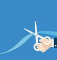 grand opening ceremony businessman hand scissors vector image