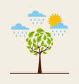 green round tree raining sky sun environment vector image vector image
